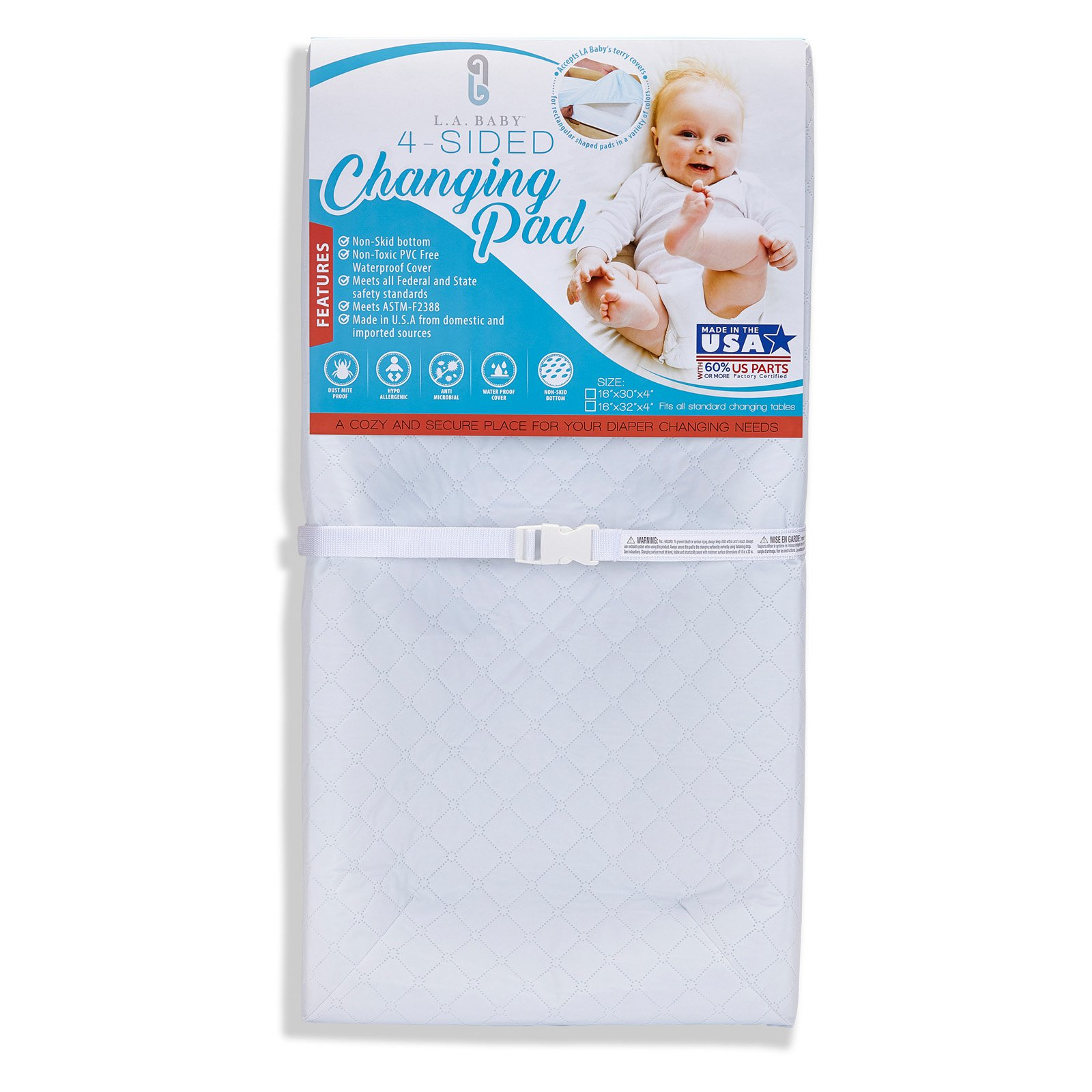 """LA Baby 30"""" 4-Sided Pad with White Terry Cover"""