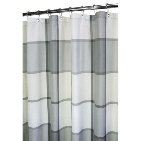 Home Classics Platinum Gray Plaid Fabric Shower Curtain Grey Bath