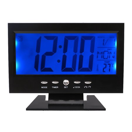 Sound Sensor Light Up LCD Digital Table Clock + Calendar Temperature Alarm