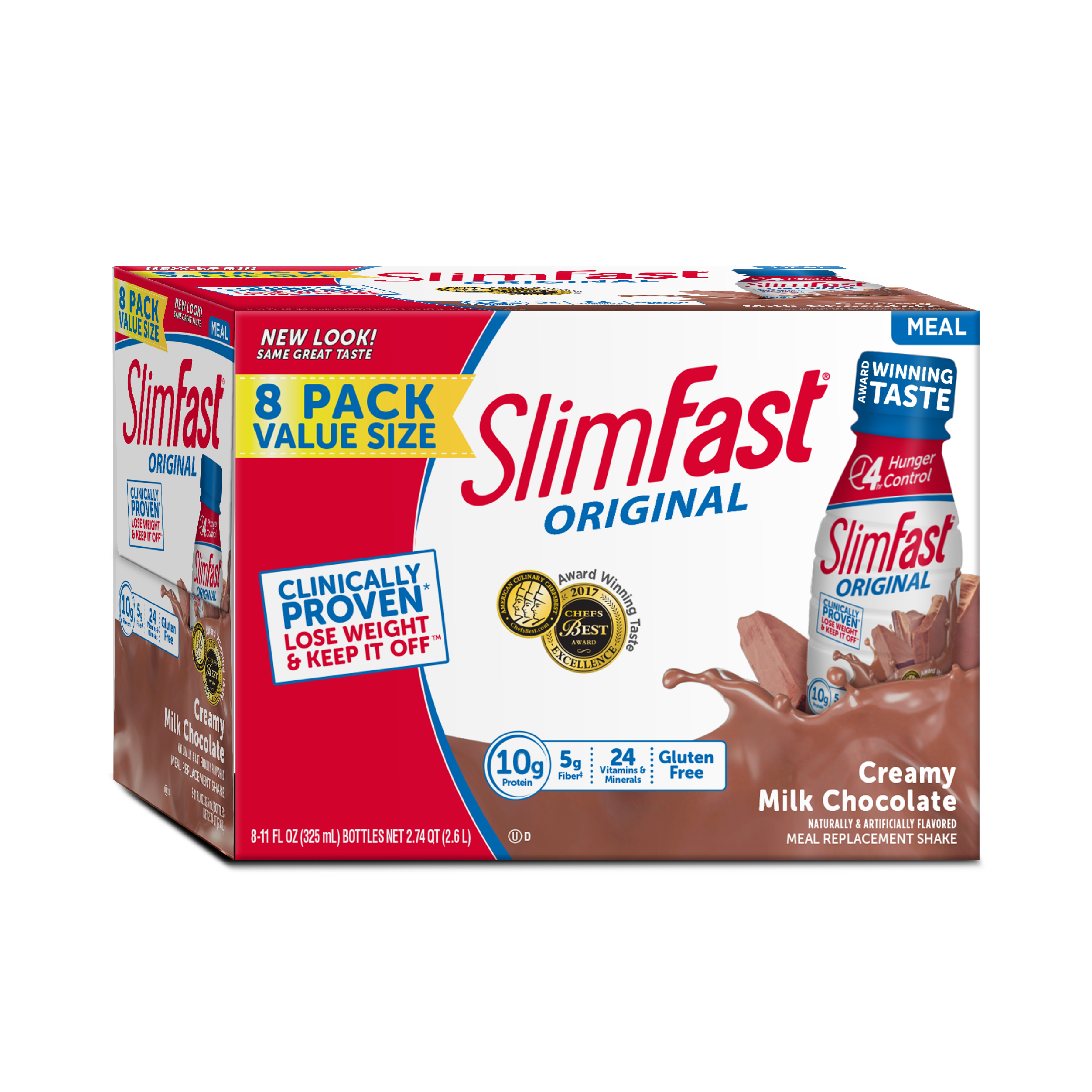 SlimFast Original Ready to Drink Meal Replacement Shakes, Creamy Milk Chocolate, 11 fl. oz., Pack of 8