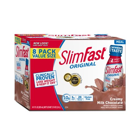 SlimFast Original Ready to Drink Meal Replacement Shakes, Creamy Milk Chocolate, 11 fl. oz., Pack of