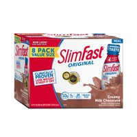 SlimFast Original Meal Replacement Shakes, Creamy Milk Chocolate, 11 Fl oz, 8 Ct