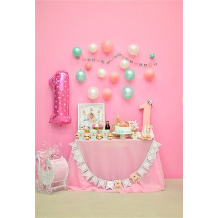 HelloDecor Polyster 5x7ft Baby 1st Birthday Backdrop Balloon Sweet Party Decoration Photography Background Banner Cake Gift