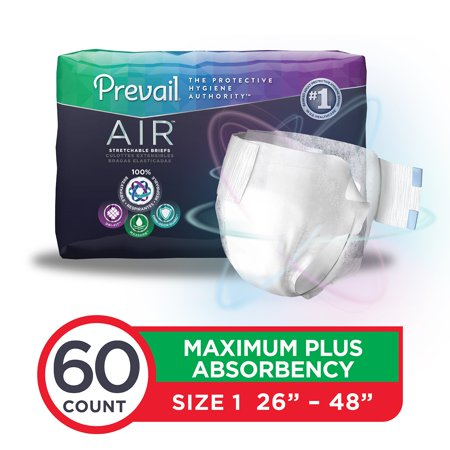Prevail Air Maximum Plus Absorbency Stretchable Incontinence Briefs / Adult Diapers, Size 1, 60 Count (Adult Costumes.com)