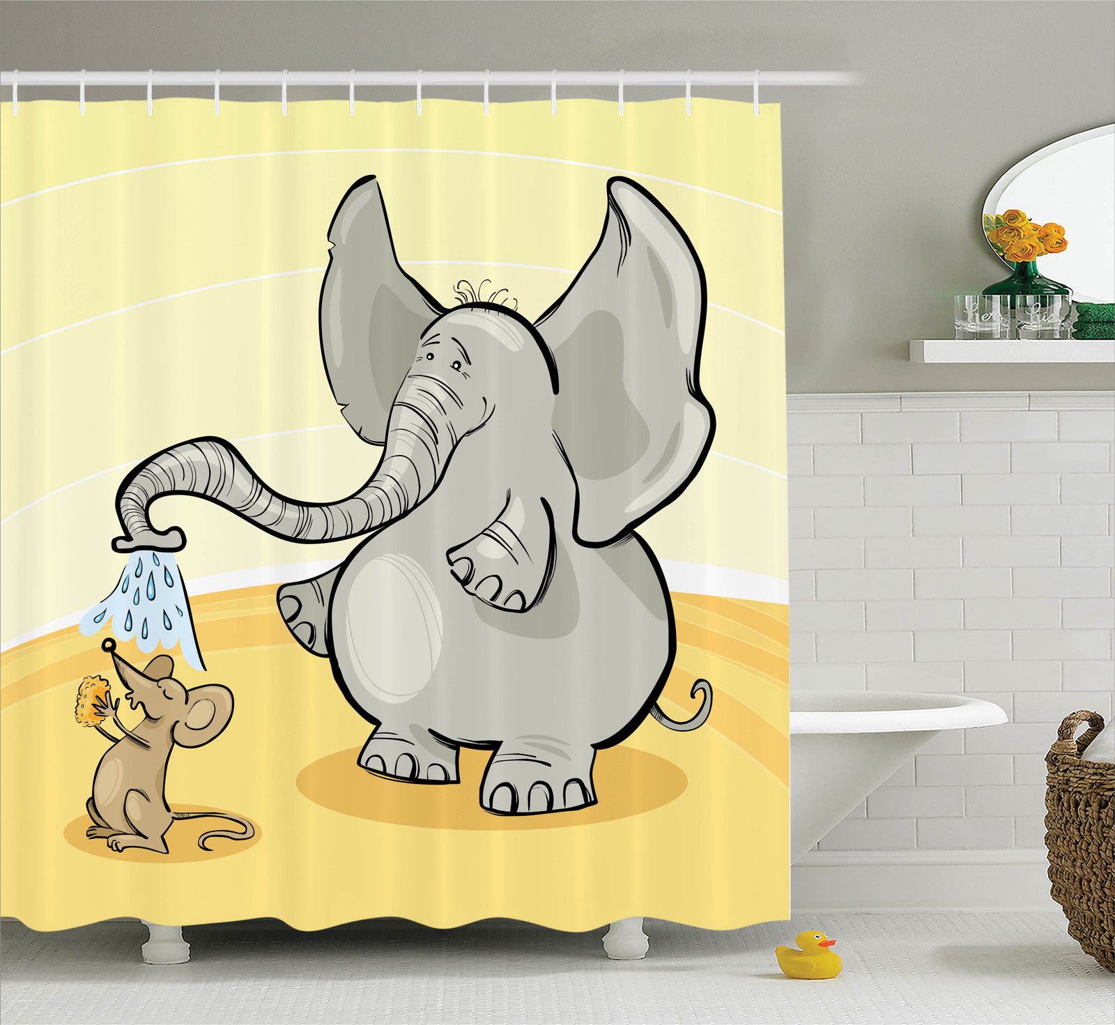 Elephants Decor Shower Curtain Set, Elephant Bathing Mouse With Trunk In The Desert Cartoon Animal Print Kids Decor, Bathroom Accessories, 69W X 70L Inches, By Ambesonne