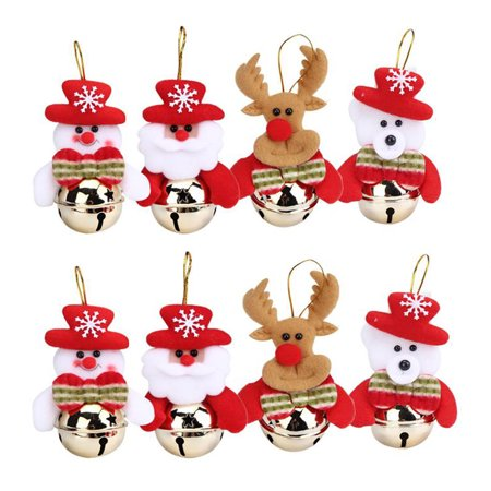 8PC Christmas Home Furnishing Decoration Tree Ornaments Small Bell Gifts ()