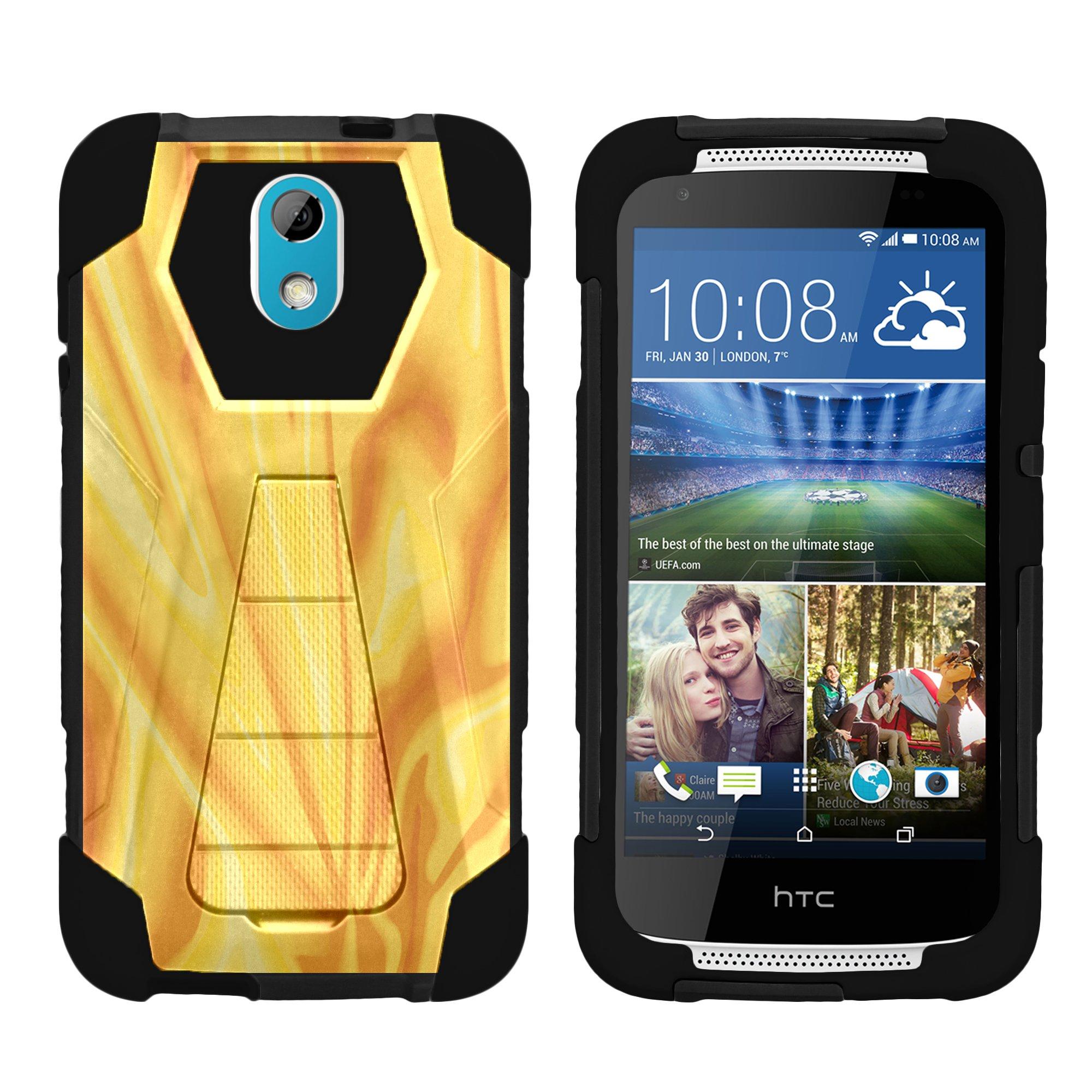 TurtleArmor ® | For HTC Desire 526 | HTC Desire 526G [Dynamic Shell] Dual Layer Hybrid Silicone Hard Shell Kickstand Case - Bat Signal