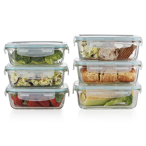 Prestee Premium 12 pc Glass Food Storage Set 6 Rectangular Glass