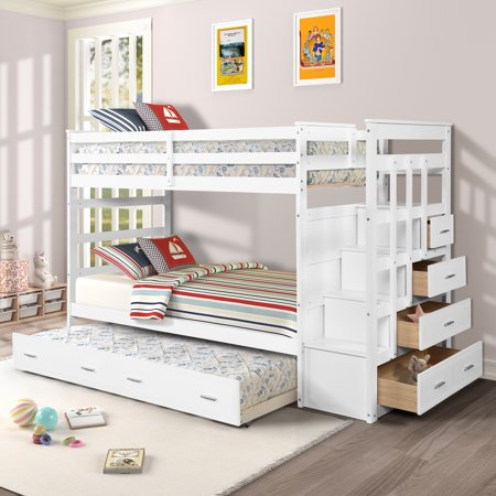 Harper&Bright Designs Twin over Twin Wood Bunk Bed with Trundle & Storage Drawers, Multiple