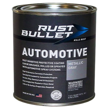 RUST BULLET Automotive - Rust Inhibitor Rust Paint (Quart, Metallic Grey)