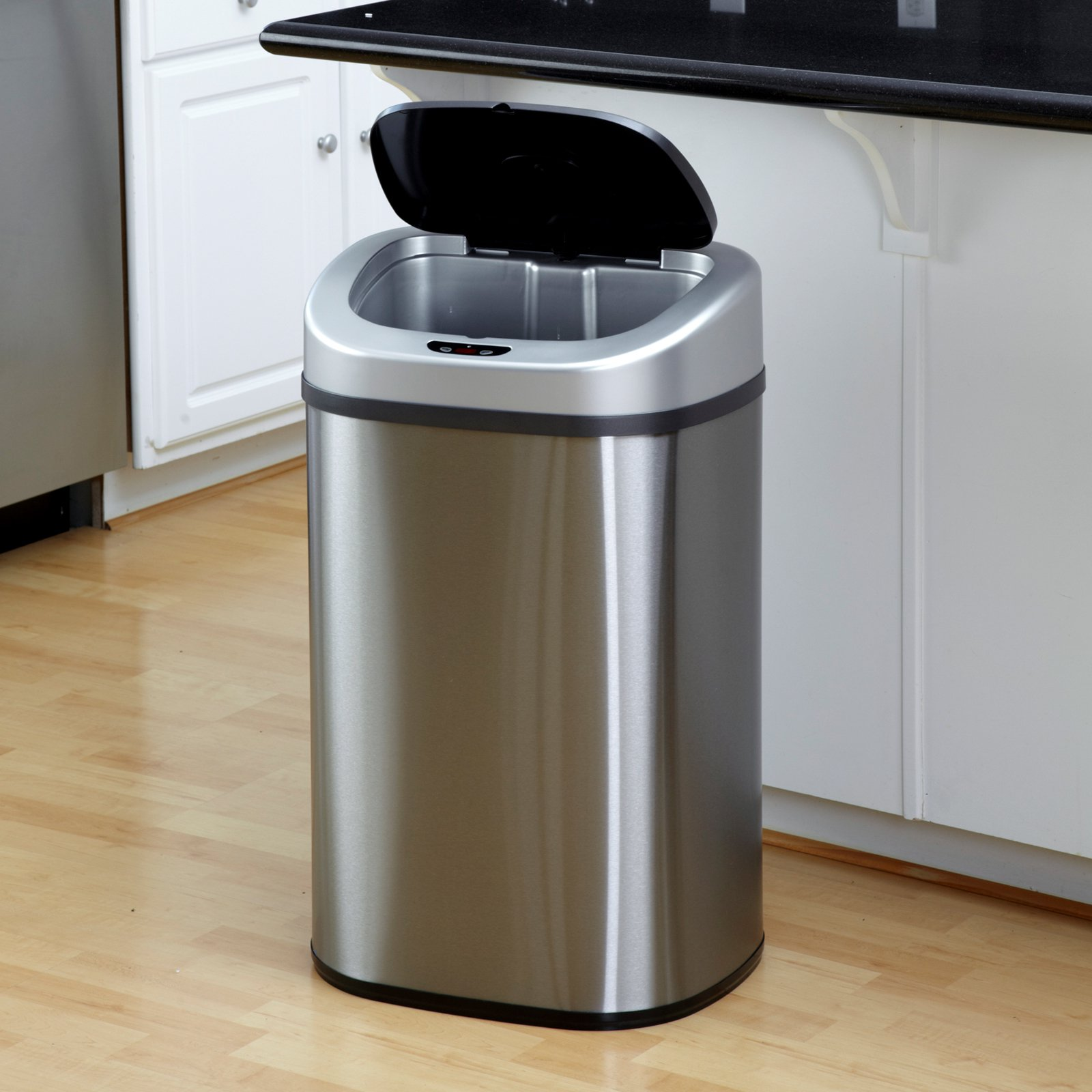 nine stars dzt 80 4 touchless stainless steel 21 1 gallon trash can rh walmart com trash cans for kitchen garbage cans for kitchen cabinet