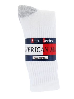 $averPak - American Made Cotton Blend Athletic Mens Crew Socks White with Grey Heel and Toe