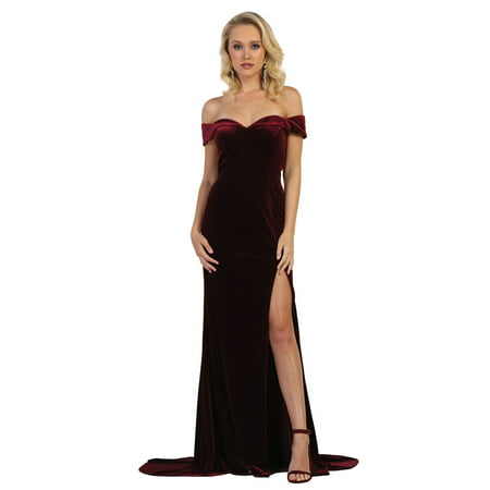 Velvet Gown Dress - SEXY SIMPLE OFF THE SHOULDER VELVET PROM EVENING GOWN