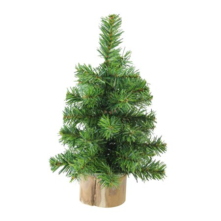 "10"" Alpine Artificial Christmas Tree With Wood Base Table Top Decoration - Unlit"