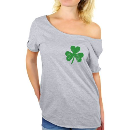 Awkward Styles St Patricks Day Irish Clover Pocket Shirt Womens St. Patricks Off Shoulder T Shirt Irish Pride St Paddy's Day Off the Shoulder Tee Lucky Shamrock T-Shirt Irish Off the Shoulder Top - St Patricks Day Clothing