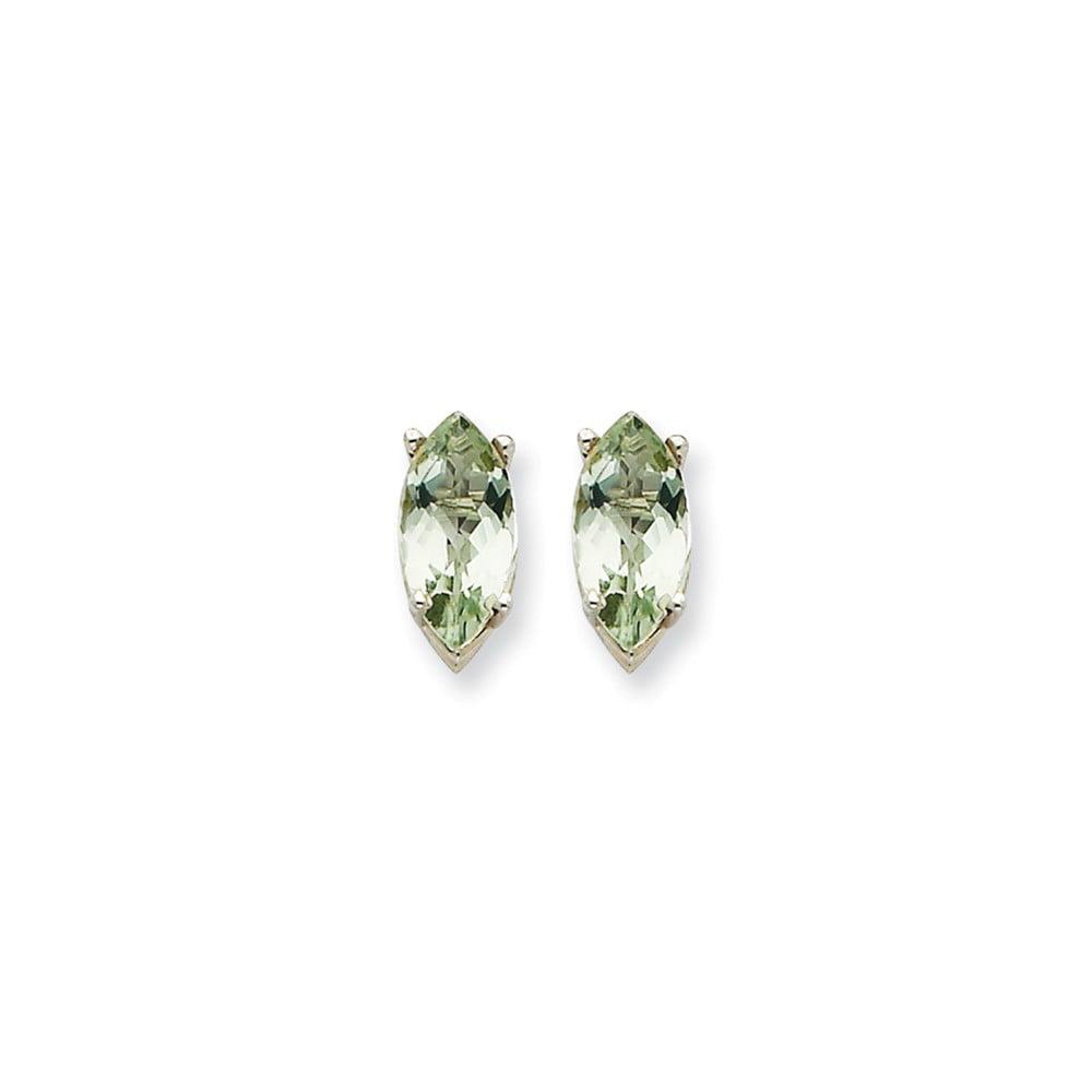 14k White Gold 0.4IN Long 10x8mm Marquise Green Amethyst Earrings