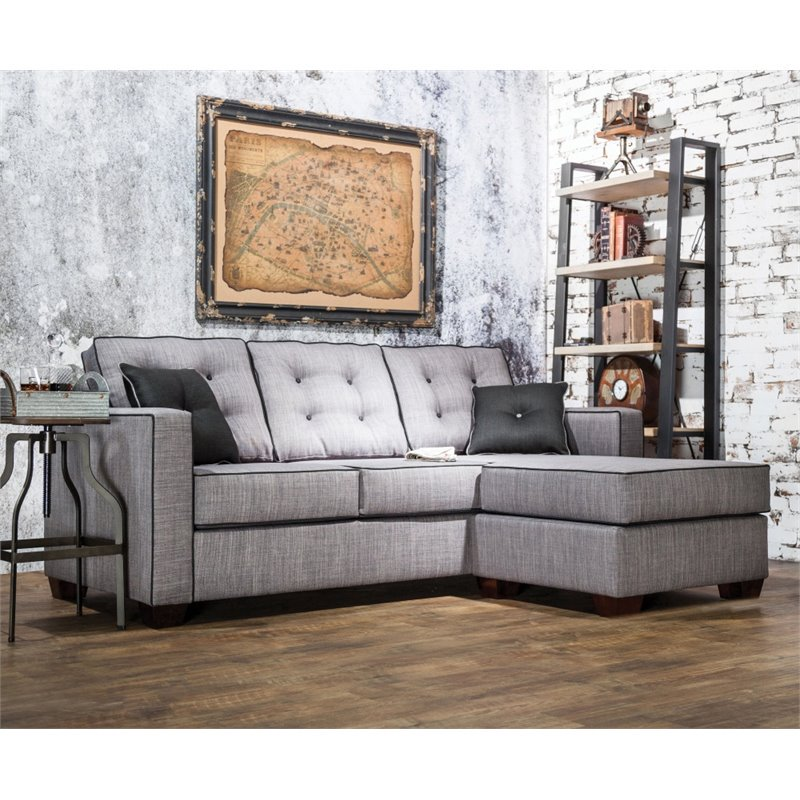 Furniture of America Tayson Linen Sectional in Gray