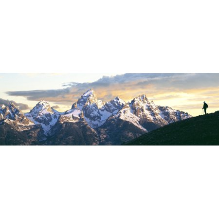 Silhouette of hiker looking at Teton Range from Schwabachers Landing Grand Teton National Park Wyoming USA Canvas Art - Panoramic Images (27 x (Grand Teton Mall)