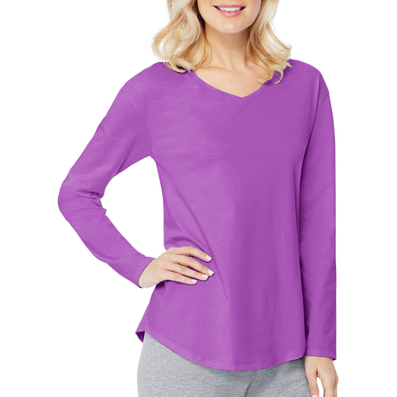 Hanes Women's Long Sleeve V-neck T-shirt