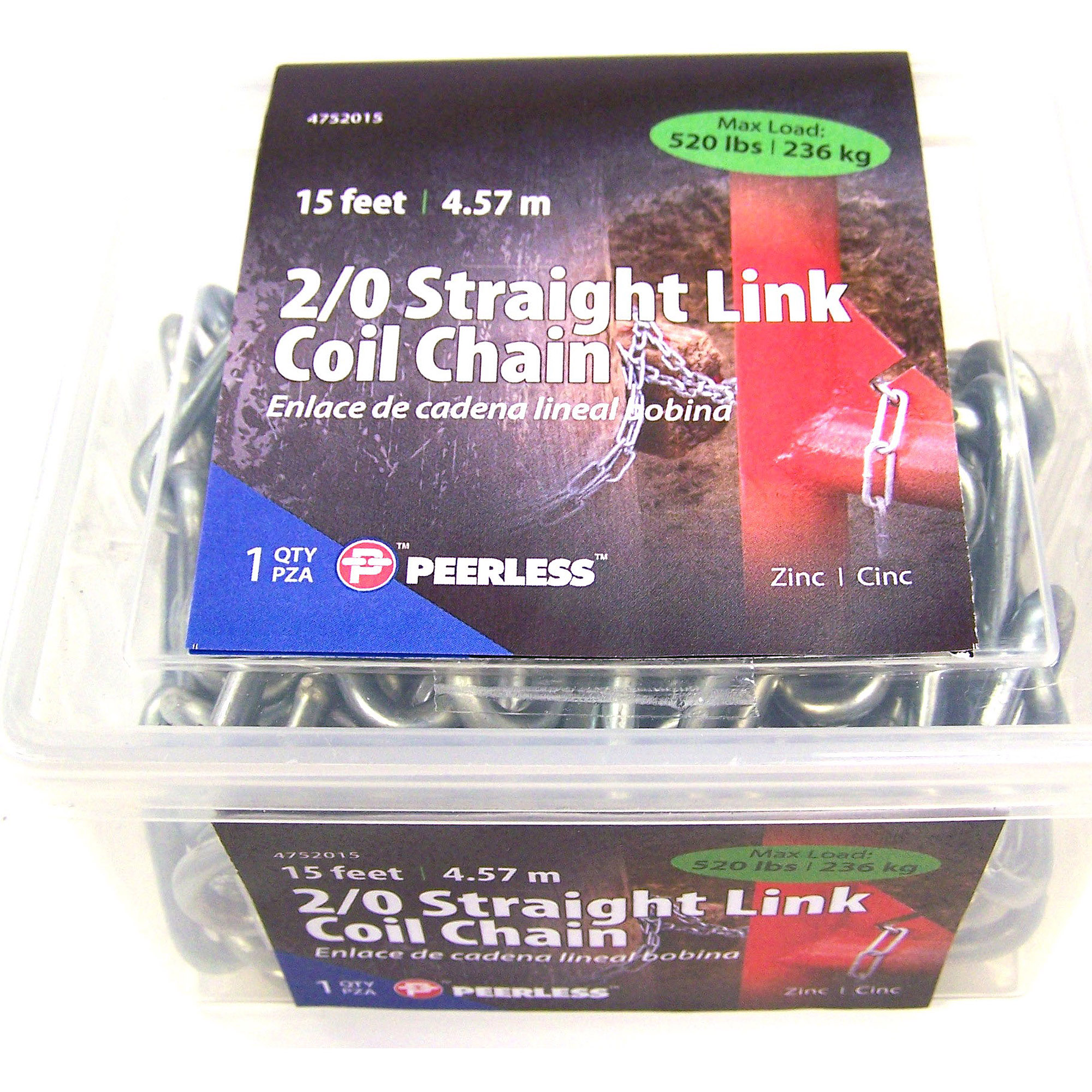 Peerless 2/0 Straight Coil Chain, 15'
