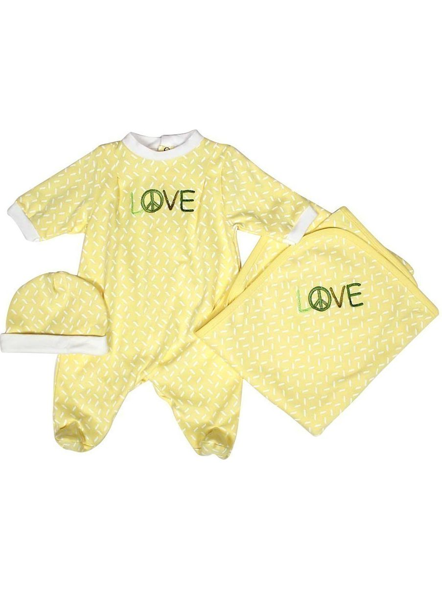 "Raindrops Unisex Baby Yellow LOVE Footie Receiving Blanket Cap Set 28"" x 34"" by Raindrops"