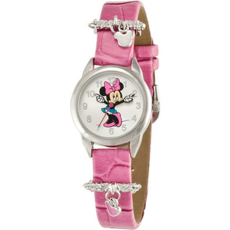 Minnie Mouse Wrist Watch (Disney Girl's Minnie Mouse Pink Heart Charm Watch, Simulated-Leather Strap )