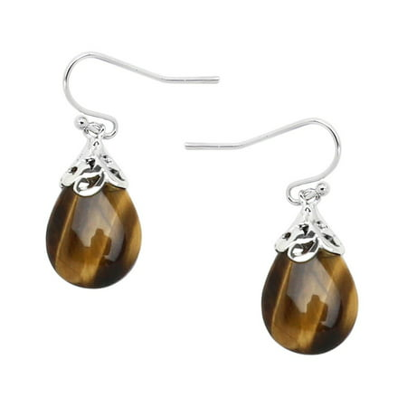 Falari Natural Stone Tear Drop Shaped Earring Tiger Eye E0320-TE Carnelian Tigers Eye Earrings