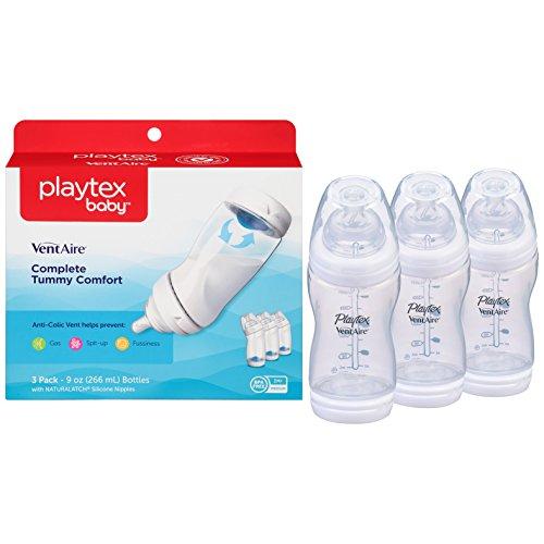 Playtex Baby Angled Bottles, Anti-Colic, Silicone Nipples, Box of 3, 9 Oz each