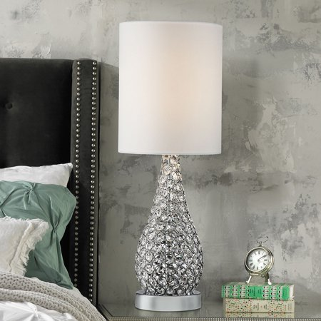 360 Lighting Modern Accent Table Lamp Crystal Bead Silver Gourd White Drum  Shade for Living Room Family Bedroom Bedside Nightstand