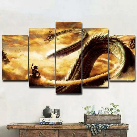 5 Panel Dragon Ball Goku & Shenlong Pictures Inspirational Wall Art ...