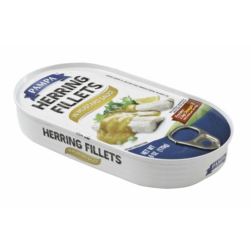 Pampa Herring Fillets in Mustard Sauce, 6 oz by Transnational Foods, Inc.