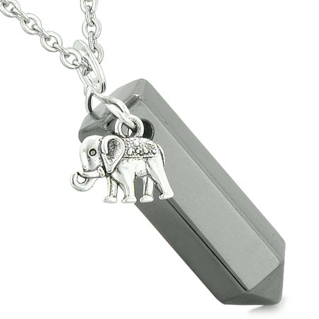 Lucky elephant charm magic powers amulet crystal point pendant lucky elephant charm magic powers amulet crystal point pendant hematite 22 inch necklace aloadofball Image collections