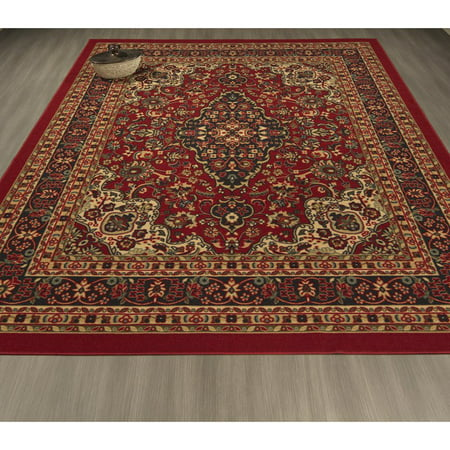 Wool Persian Runner (Ottomanson Ottohome Collection Persian Heriz Oriental Design Non Slip Rubber Backing Area and Runner)