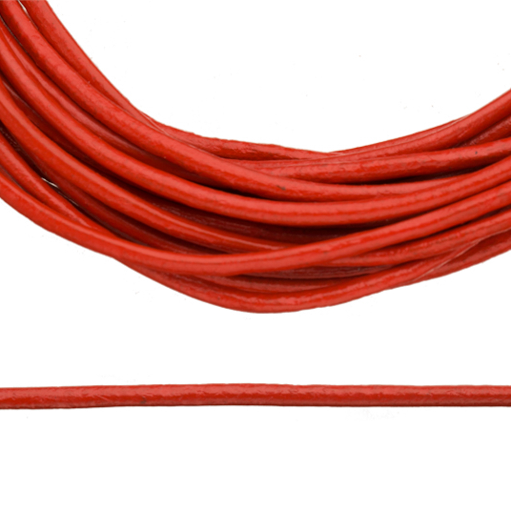 Full-Grain Genuine Leather Cord, 2mm Round Red 5 Yard