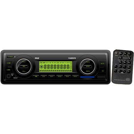 Pyle 160W In-Dash Marine MP3/Weatherband/AM/FM-MPX Electronic Tuning Radio with USB/SD/MMC, Black