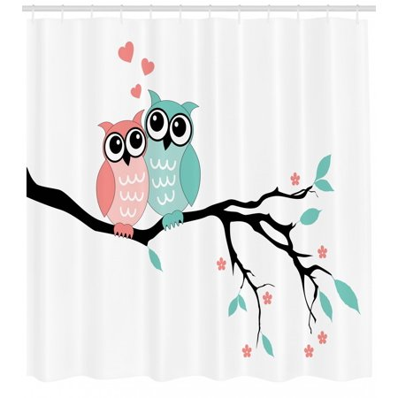 Teal and White Shower Curtain, Cute Owl Couple Sitting on Tree Branch Valentines Romance Love, Fabric Bathroom Set with Hooks, Turquoise Coral Black, by Ambesonne](Cute Shower Curtain)