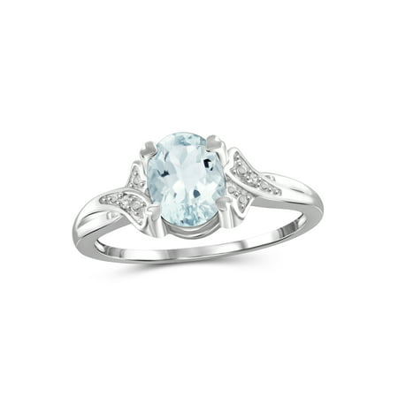 JewelersClub 1 1/7 Carat T.G.W. Aquamarine And White Diamond Accent Sterling Silver Ring