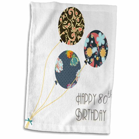 3dRose Happy 80th Birthday - Modern stylish floral Balloons. Elegant black brown blue 80 year old Bday - Towel, 15 by