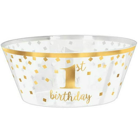 1st Birthday Gold Large Plastic Serving Bowl (1ct)](Large Plastic Serving Bowl)