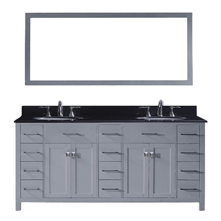 Virtu Md 2172 Bgro Gr 002 Caroline Parkway 72 Inch Double Bathroom Vanity Set In Grey
