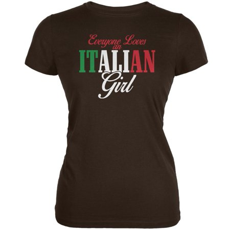 Italian Girl (Everyone Loves An Italian Girl Brown Juniors Soft T-Shirt)