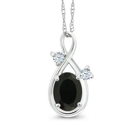 - 0.88 Ct Oval Black Onyx White Created Sapphire 14K White Gold Pendant