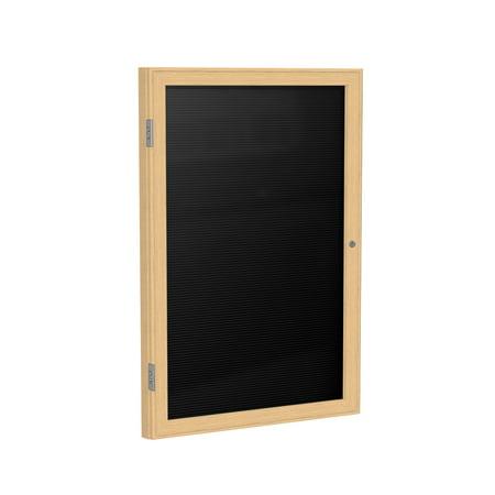 PW12418B-BK Ghent 1 Door Enclosed Message Center Oak Wood Frame Letter Board, Black, 24-in H x 18-in W, - Enclosed Message Center