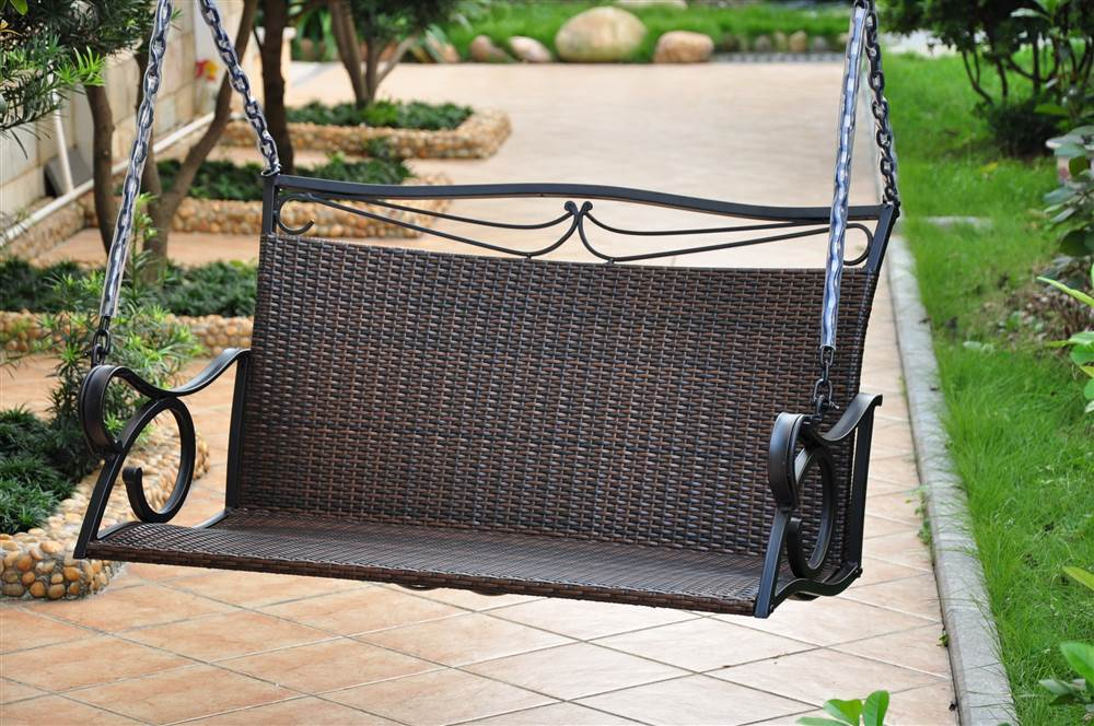 Wicker Resin Steel Patio Porch Swing by Porch Swings