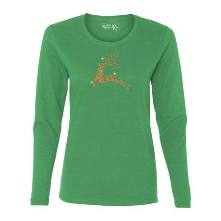 Reindeer Gold Glitter Christmas Shirt Womens Long Sleeve