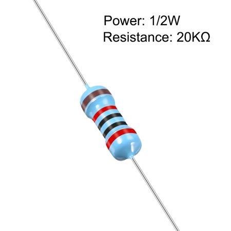 Résistance film métallique 100pc 20K Ohm 0.5W 1/2W Tolérance 5Bande couleur - image 1 de 4