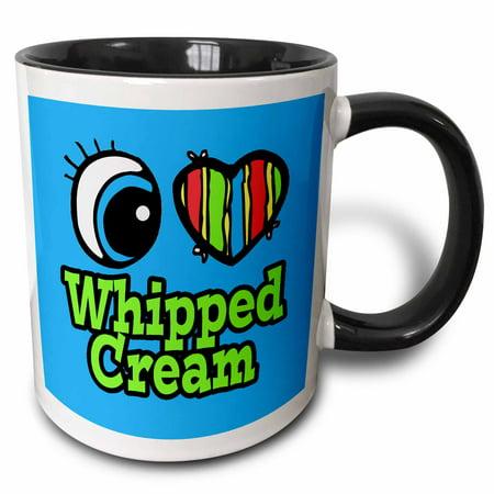 3dRose Bright Eye Heart I Love Whipped Cream - Two Tone Black Mug, 11-ounce