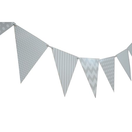 Triangle Flag Case (Quasimoon Gray / Grey Mix Pattern Triangle Flag Pennant Banner Decoration (11FT) by)