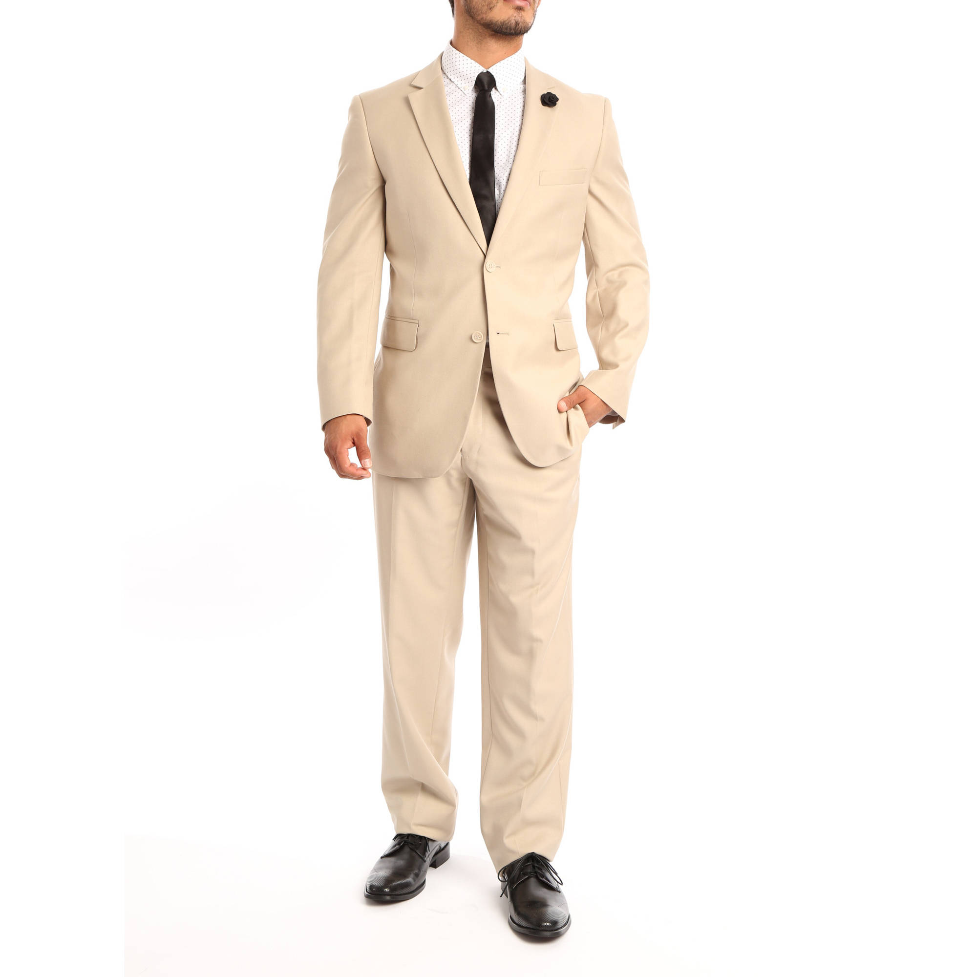 Verno Allegri Men's Tan Classic Fit Italian Styled Two Piece Suit