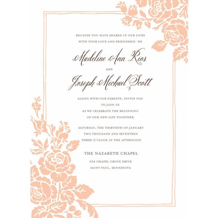 Pug Stationery - Classic Floral Standard Wedding Invitation